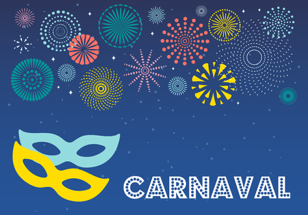 Colorful fireworks, carnival masks, confetti on dark background, with Spanish text Carnaval. Vector illustration. Flat style design. Concept for banner poster, flyer, card, decorative element.