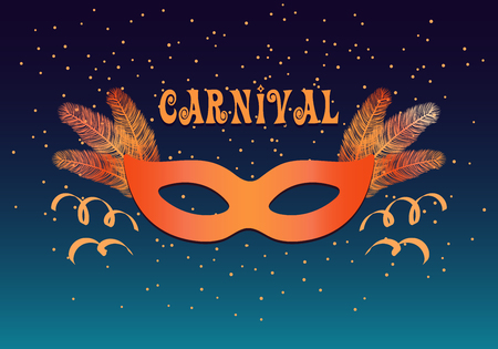 Colorful carnival mask, feathers, confetti on dark background, with text Carnival. Vector illustration. Flat style design. Concept for banner, poster, flyer, greeting card, decorative element