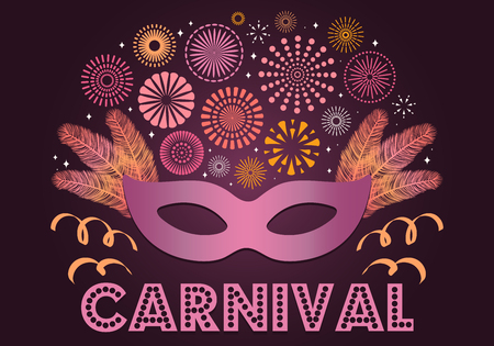 Colorful fireworks, carnival mask, feathers, on dark background, with text Carnival. Vector illustration. Flat style design. Concept for banner, poster, flyer, greeting card decorative element Ilustração