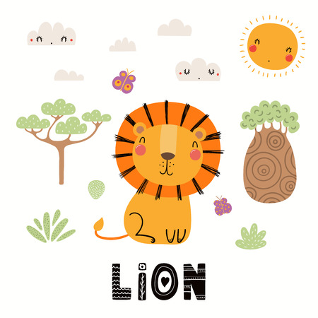 Hand drawn vector illustration of a cute lion, African landscape, with text. Isolated objects on white background. Scandinavian style flat design. Concept for children print.