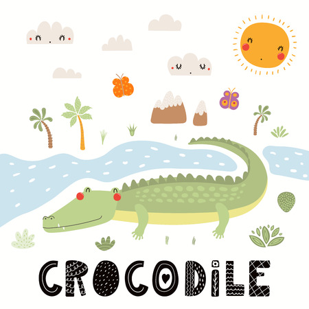 Hand drawn vector illustration of a cute crocodile, African landscape, with text. Isolated objects on white background. Scandinavian style flat design. Concept for children print.