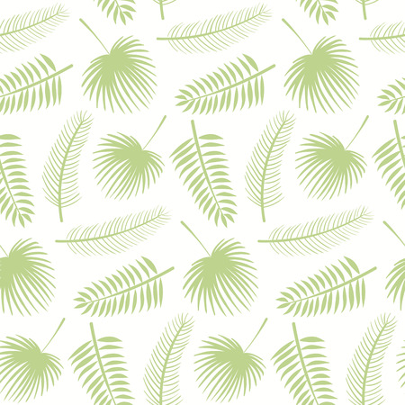 Hand drawn seamless botanical pattern with green palm leaves on white background. Vector illustration. Flat style design. Concept for kids textile print, wallpaper, wrapping paper