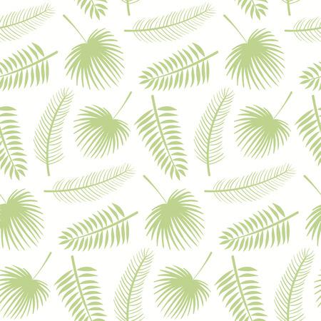 Reticolo botanico senza giunte disegnato a mano con foglie di palma verde su sfondo bianco. Illustrazione vettoriale. Design in stile piatto. Concetto per stampa tessile per bambini, carta da parati, carta da imballaggio