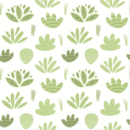 Hand drawn seamless botanical pattern with green shrubs and grasses on white background. Vector illustration. Flat style design. Concept for kids textile print, wallpaper, wrapping paper
