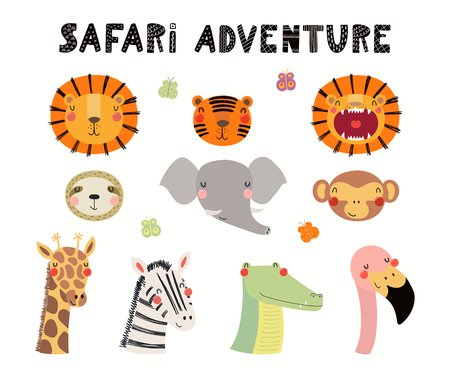 Hand drawn vector illustration of cute animals lion, flamingo, zebra, monkey, crocodile, giraffe, tiger, elephant, sloth. Isolated objects on white. Scandinavian style flat design. Concept kids print Illustration
