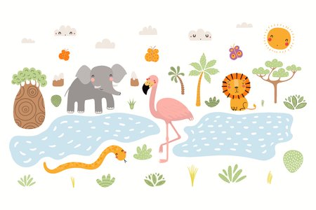 Hand drawn vector illustration of cute animals lion, flamingo, elephant, snake, African landscape. Isolated objects on white background. Scandinavian style flat design. Concept for children print.