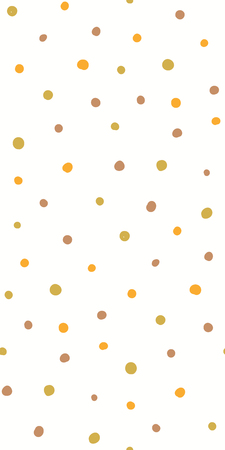 Hand drawn seamless geometric pattern with circles, in brown, green, yellow, on white background. Vector illustration. Flat style design. Concept for kids textile print, wallpaper, wrapping paper.