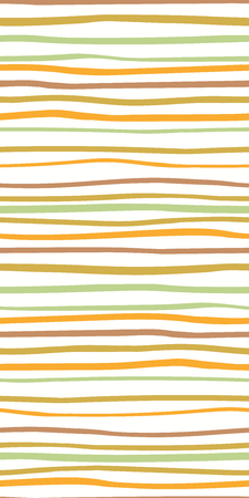 Hand drawn seamless geometric pattern with stripes, in brown, green, orange, on white background. Vector illustration. Flat style design. Concept for kids textile print, wallpaper, wrapping paper. Illustration