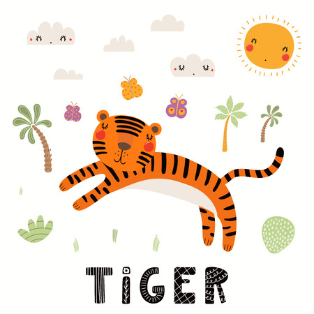 Hand drawn vector illustration of a cute tiger, tropical landscape, with text. Isolated objects on white background. Scandinavian style flat design. Concept for children print.