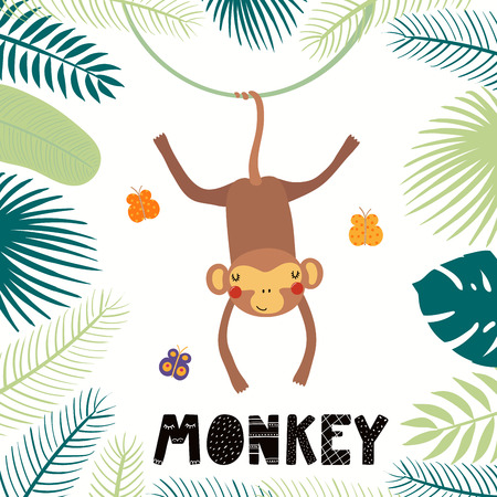 Hand drawn vector illustration of a cute monkey among tropical plants leaves, with text. Isolated objects on white background. Scandinavian style flat design. Concept for children print. Stock Illustratie