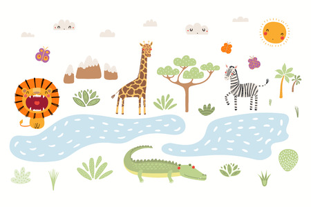 Hand drawn vector illustration of cute animals lion, zebra, crocodile, giraffe, African landscape. Isolated objects on white background. Scandinavian style flat design. Concept for children print. Ilustração