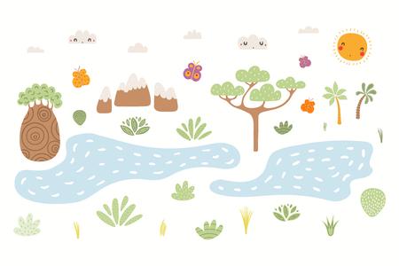 Handgezeichnete Vektorgrafik der süßen afrikanischen Landschaft mit Bäumen, Bergen, Pflanzen, Seen, Sonne. Isolierte Objekte auf weißem Hintergrund. Flaches Design im skandinavischen Stil. Konzept für Kinderdruck.
