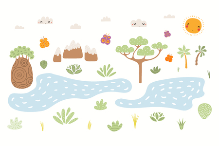 Hand drawn vector illustration of cute African landscape with trees, mountains, plants, lakes, sun. Isolated objects on white background. Scandinavian style flat design. Concept for children print. Illustration