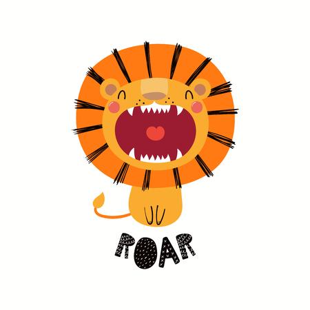 Ilustración de vector dibujado a mano de un lindo león divertido con la boca abierta, con cita de letras Roar. Objetos aislados sobre fondo blanco. Diseño plano de estilo escandinavo. Concepto para niños imprimir. Ilustración de vector