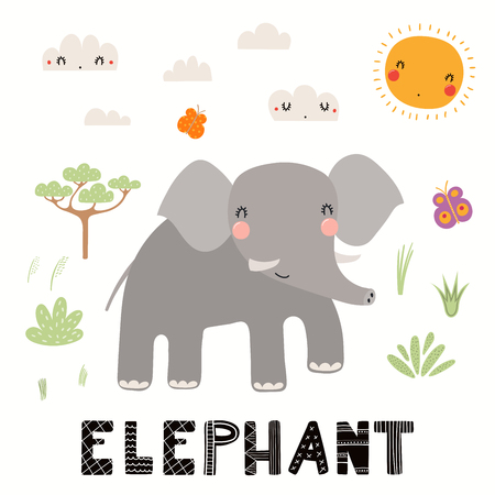 Hand drawn vector illustration of a cute elephant, African landscape, with text. Isolated objects on white background. Scandinavian style flat design. Concept for children print. Illustration