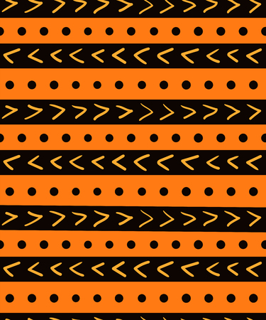 Hand drawn seamless geometric pattern with stripes, dots, arrows, in black, orange, yellow. Vector illustration. Flat style design. Concept for kids textile print, wallpaper, wrapping paper