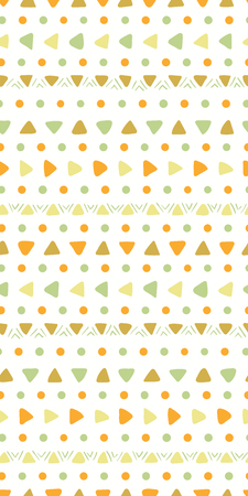 Hand drawn seamless geometric pattern with dots, arrows, triangles, in green, orange, brown, on white. Vector illustration. Flat style design. Concept for kids textile print, wallpaper, wrapping paper Illustration