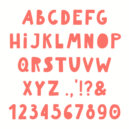 Hand drawn Latin alphabet with numbers, punctuation marks. Upper case letters. Make your own lettering. Isolated objects on white background. Vector illustration. Design concept for typographic poster