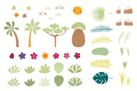 Set tropischer Elemente Sonne, Wolken, Schmetterlinge, Berge, Bäume, Blumen, Palmblätter, Sträucher. Isolierte Objekte auf Weiß. Handgezeichnete Vektor-Illustration. Flaches Design. Konzept für Kinderdruck