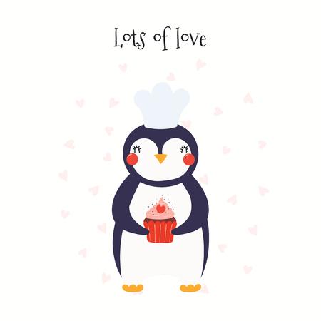 Tarjeta del día de San Valentín dibujada a mano con lindo pingüino divertido con cupcake, corazones, texto Mucho amor. Objetos aislados en blanco. Ilustración de vector. Diseño plano de estilo escandinavo. Concepto para niños imprimir.
