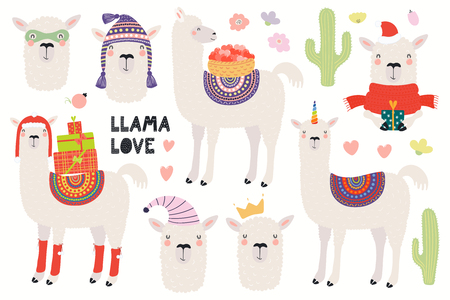 Set of cute funny llamas, Christmas, superhero, princess, unicorn. Isolated objects on white background. Hand drawn vector illustration. Scandinavian style flat design. Concept for children print.