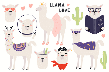 Set of cute funny llamas, Christmas, astronaut, ballerina, pirate, superhero. Isolated objects on white. Hand drawn vector illustration. Scandinavian style flat design. Concept for children print. Banco de Imagens - 116641813