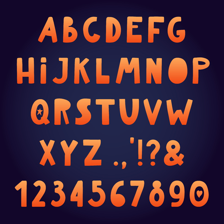 Hand drawn Latin alphabet with numbers, punctuation marks. Upper case gradient letters. Make your own lettering. Isolated objects. Vector illustration. Design concept for typographic poster.