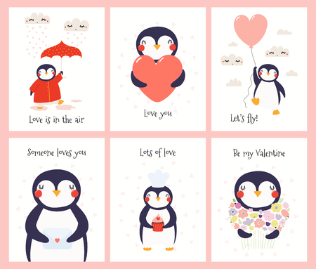 Conjunto de tarjetas de San Valentín dibujadas a mano con lindos pingüinos divertidos, corazones, paraguas, globo, carta de amor, cupcake, flores, texto Ilustración vectorial. Diseño plano de estilo escandinavo. Concepto de impresión para niños Ilustración de vector