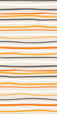 Hand drawn seamless geometric pattern with stripes, in white, orange, gray, on light background. Vector illustration. Flat style design. Concept for kids textile print, wallpaper, wrapping paper.