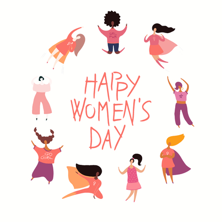 Happy womens day card, poster, banner, with quote and diverse women. Isolated objects on white background. Hand drawn vector illustration. Flat style design. Concept, element for feminism, girl power.