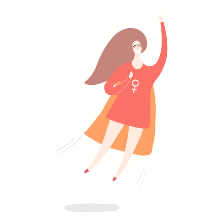 Hand drawn vector illustration of a happy woman superhero flying. Isolated objects on white background. Flat style design. Concept, element for feminism, womens day card, poster, banner.