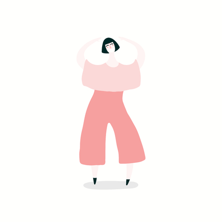 Hand drawn vector illustration of a happy woman dancing. Isolated objects on white background. Flat style design. Concept, element for feminism, womens day card, poster, banner.