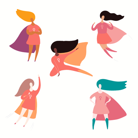 Set of diverse women superheroes. Isolated objects on white background. Hand drawn vector illustration. Flat style design. Concept, element for feminism, girl power, womens day card, poster, banner.