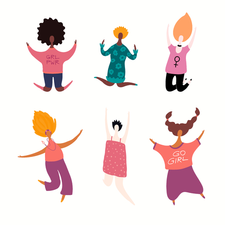 Set of diverse jumping women. Isolated objects on white background. Hand drawn vector illustration. Flat style design. Concept, element for feminism, girl power, womens day card, poster, banner. Illustration