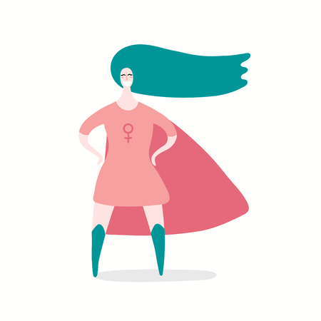 Hand drawn vector illustration of a happy woman superhero. Isolated objects on white background. Flat style design. Concept, element for feminism, womens day card, poster, banner. Stock Illustratie