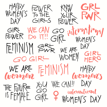 Set of hand written lettering quotes about girl power, feminism, international womens day, black and pink. Isolated objects on white background. Vector illustration. Design concept for t-shirt print. Illusztráció