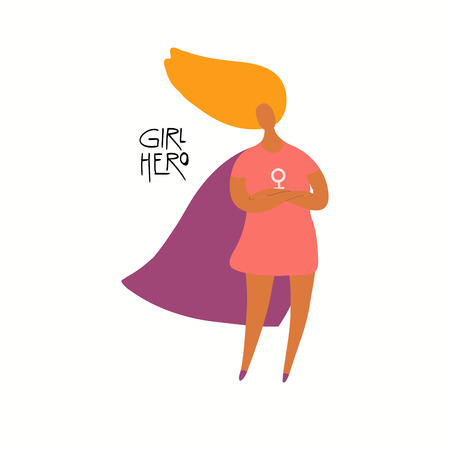 Hand drawn vector illustration of a happy black woman superhero, with quote Girl hero. Isolated objects on white background. Flat style design. Concept for feminism, womens day card, poster, banner.