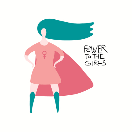 Hand drawn vector illustration of a happy woman superhero, with quote Power to the girls. Isolated objects on white background. Flat style design. Concept for feminism, womens day card, poster, banner