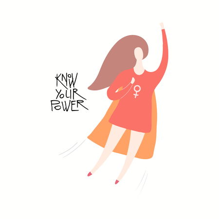 Hand drawn vector illustration of a happy woman superhero flying, with quote Know your power. Isolated objects on white background. Flat style design. Concept feminism, womens day card, poster, banner