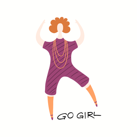 Hand drawn vector illustration of a happy woman dancing, with quote Go girl. Isolated objects on white background. Flat style design. Concept, element for feminism, womens day card, poster, banner. Illustration