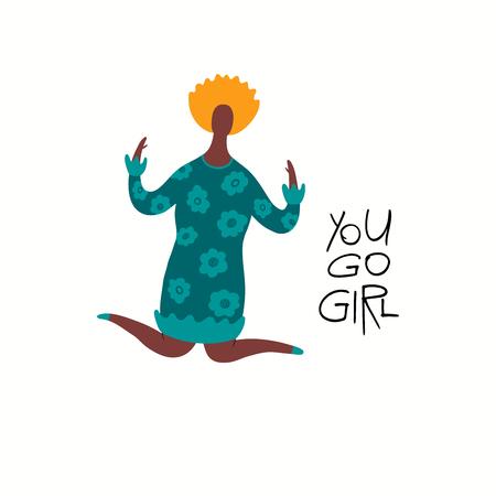Handgezeichnete Vektor-Illustration einer glücklichen schwarzen Frau springen, mit Zitat Sie gehen Mädchen. Isolierte Objekte auf weißem Hintergrund. Flaches Design. Konzept für Feminismus, Tageskarte der Frauen, Poster, Banner.