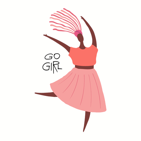 Hand drawn vector illustration of a happy black woman dancing, with quote Go girl. Isolated objects on white background. Flat style design. Concept, element feminism, womens day card, poster, banner.