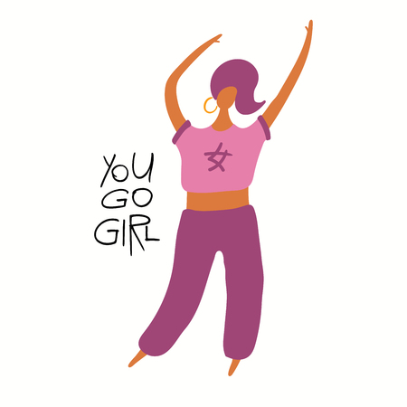 Hand drawn vector illustration of a happy black woman dancing, with quote You go girl. Isolated objects on white background. Flat style design. Concept for feminism, womens day card, poster, banner.