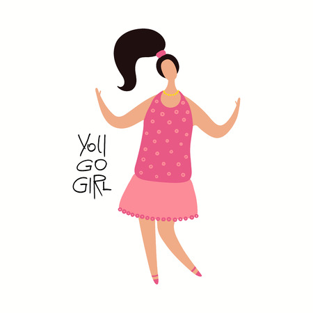 Hand drawn vector illustration of a happy woman dancing, with quote You go girl. Isolated objects on white background. Flat style design. Concept, element for feminism, womens day card, poster, banner