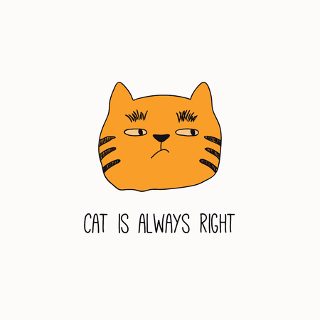 Hand drawn vector illustration of a cute funny cat face, with quote Cat is always right. Isolated objects on white background. Line drawing. Design concept for poster, t-shirt, fashion print. Illustration
