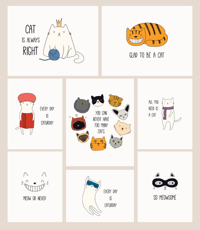 Set of cards with cute color doodles of different cats with funny quotes for cat lovers. Hand drawn vector illustration. Line drawing. Design concept for poster, t-shirt, fashion print. Ilustrace