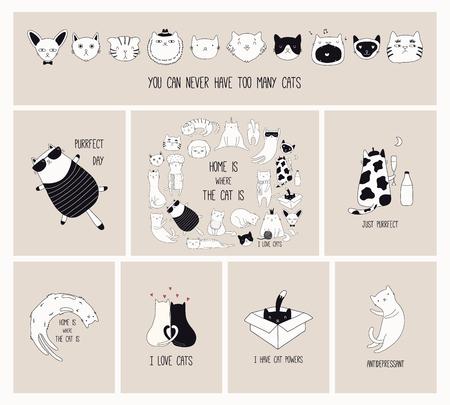Juego de tarjetas con lindos garabatos monocromos de diferentes gatos con citas divertidas para los amantes de los gatos. Ilustración de vector dibujado a mano. Dibujo lineal. Concepto de diseño de carteles, camisetas, estampados de moda.