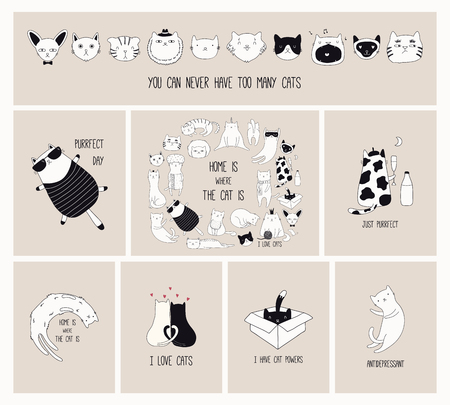 Set of cards with cute monochrome doodles of different cats with funny quotes for cat lovers. Hand drawn vector illustration. Line drawing. Design concept for poster, t-shirt, fashion print.