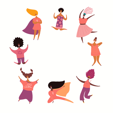 Round frame with diverse women dancing, jumping, superheroes. Isolated objects on white. Hand drawn vector illustration. Flat style design. Concept, element for feminism, girl power, womens day card. Ilustrace
