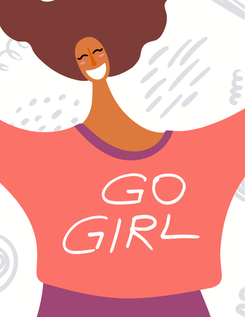 Womens day card, poster, banner, with quote Go girl and smiling dark skinned woman portrait. Hand drawn vector illustration. Flat style design. Concept, element for feminism, girl power.